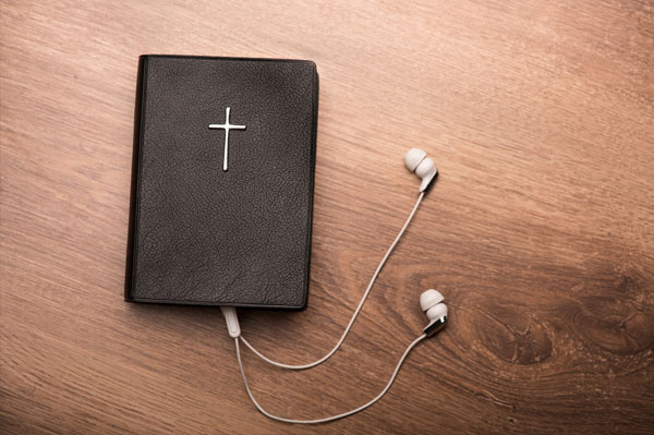 Bible with headphones